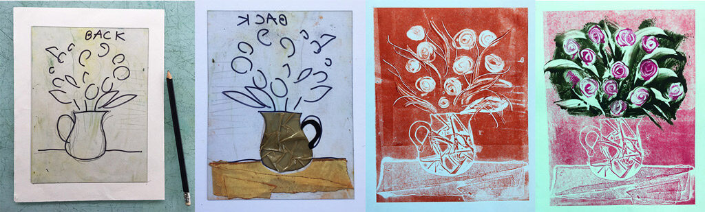 From sketch, to printing plate, to finished prints