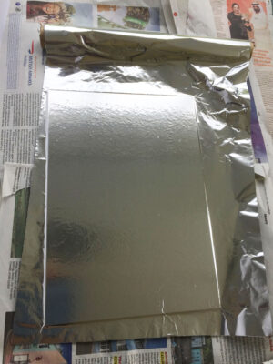 lay kitchen foil onto the gluey card