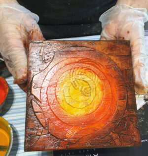 Cement collagraph plate showing textured surface