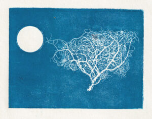 tree with moon aluminium tape print