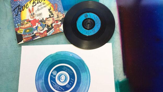 vinyl record with print