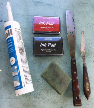 rolling pin, ink pad and pallet knife
