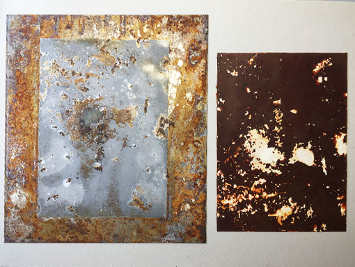 a dark rust print from a clean steel plate