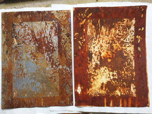 a rust plate with the print